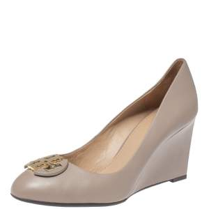 Tory Burch Beige Leather Round Toe Wedge Pumps Size 37.5
