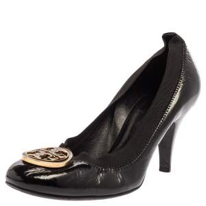 Tory Burch Black Patent Leather Caroline Reva Scrunch Pumps Size 35.5