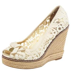 Tory Burch White Lace And Mesh Jackie Peep Toe Espadrilles Wedge Pumps Size 38.5