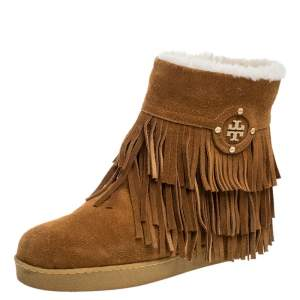Tory Burch Brown Suede Collins Fringe Detail Boots Size 37