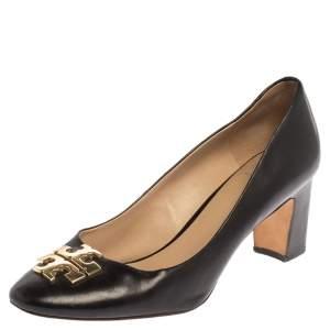 Tory Burch Black Leather T Logo Block Heel Slip On Pumps Size 39