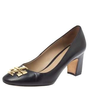 Tory Burch Black Leather Logo Block Heel Pumps Size 35.5