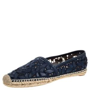 Tory Burch Blue Leather And Mesh Espadrille Flats Size 39
