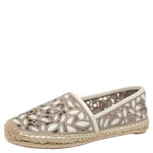 Tory Burch White/Grey Embroidered Leather Cutout Espadrille Flats Size 36.5