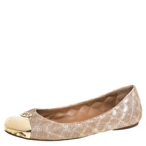 Tory Burch Beige Quilted Nubuck Leather Kaitlin Metal Cap Toe Ballet Flats Size 37
