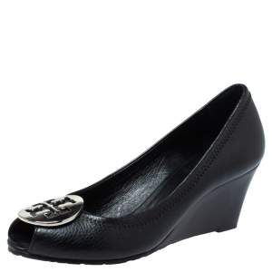 Tory Burch Black Leather Reva Peep Toe Wedge Pumps Flats Size 35.5