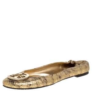Tory Burch Metallic Gold Snakeskin Effect Leather Minnie Scrunch Ballet Flats Size 41