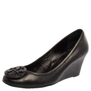 Tory Burch Black Leather Wedge Pumps Size 40