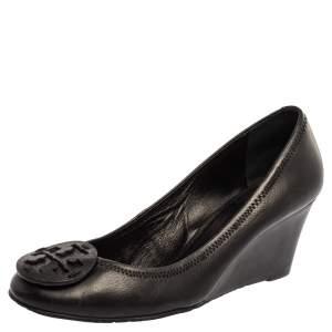 حذاء كعب عالي توري برش كعب روكي جلد أسود مقاس 40