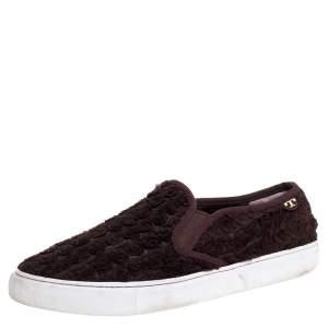 Tory Burch Dark Brown Fabric Rosette Slip On Sneakers Size 40.5