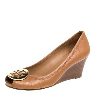 Tory Burch Brown Leather Wedge Peep Toe Pumps Size 37
