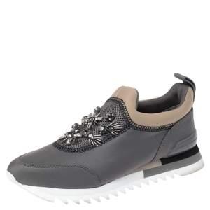 Tory Burch Grey Neoprene Storm Cloud Crystal Embellished Mesh Paneled Slip On Sneakers Size 38