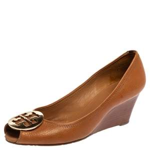 Tory Burch Brown Leather Wedge Peep Toe Pumps Size 39.5