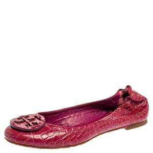 Tory Burch Pink Croc Textured Patent Leather Reva Ballet Flats Size 38