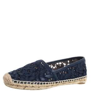 Tory Burch Blue Embroidered Leather Cutout Espadrille Flats Size 35.5