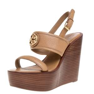 Tory Burch Brown Leather Selma Logo Wedges Platform Sandals Size 38