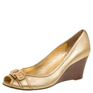Tory Burch Gold Leather Peep Toe Wedge Pumps Size 40