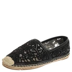 Tory Burch Black Leather And Mesh Espadrille Flats Size 38