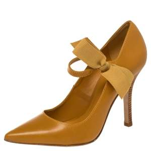 Tory Burch Mustard Leather Mary Jane Bow Pumps Size 38