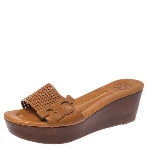Tory Burch Brown Perforated Leather Wedge Slide Sandals Size 36.5