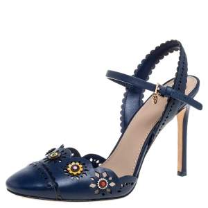 Tory Burch Blue Leather Floral Appliquéd Scalloped Marguerite Sandals Size 37.5