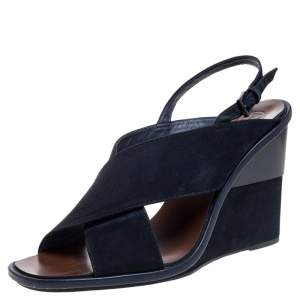 Tory Burch Navy Blue Suede Gabrielle Slingback Wedge Sandals Size 38.5