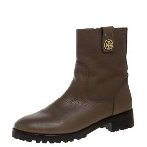 Tory Burch Dark Beige Grained Leather Oakbridge Ankle Boots Size 38.5
