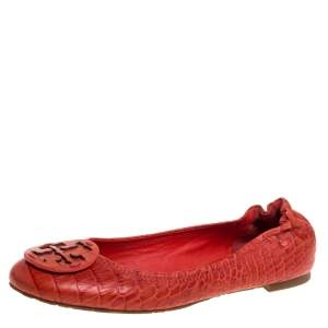 Tory Burch Orange Leather Croc Print Reva Flats Size 39.5
