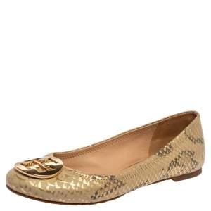 Tory Burch Gold/Beige Python Print Leather Reva Ballet Flats Size 37.5