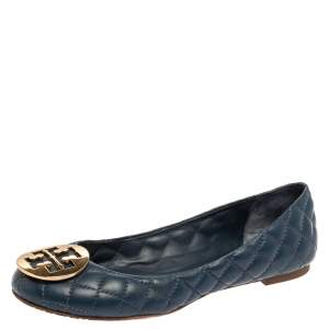 Tory Burch Blue Quilted Leather Quinn Ballet Flats Size 39