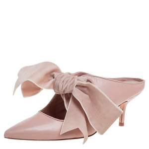 Tory Burch Nude Pink Leather Clara Mule Sandals Size 39