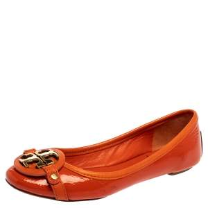 Tory Burch Orange Patent Leather Logo Ballet Flats Size 35