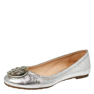 Tory Burch Silver Leather Reva Ballet Flats Size 35.5