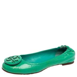 Tory Burch Green Patent Leather Reva Scrunch Ballet Flats Size 36