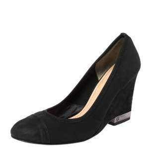 Tory Burch Black Suede Leather Cap Toe Wedge Heel Pumps Size 36.5