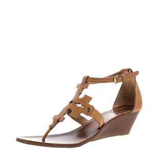 Tory Burch Brown Leather Phoebe Thong Ankle Strap Wedge Sandals Size 39.5