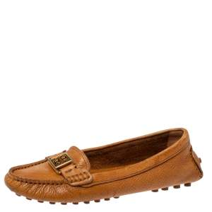 Tory Burch Brown Leather Driving Loafers Size 36.5