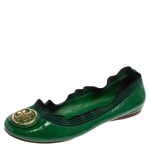 Tory Burch Green Patent Leather Caroline Ballet Flats Size 38.5