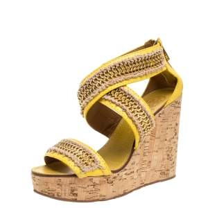 Tory Burch Yellow Leather Lucian Chain Embellished Cork Wedge Sandals Size 38