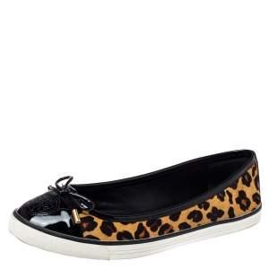 Tory Burch Leopard Print Calf Hair And Leather Skyler Flats Size 38.5