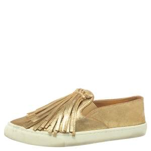 Tory Burch Gold Leather Fria Slip on Sneakers Size 38