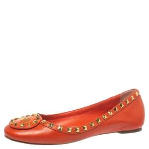 Tory Burch Orange Leather Studded Ballet Flats Size 40