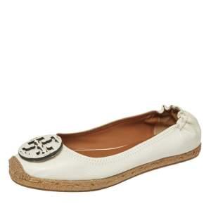 Tory Burch White Leather Reva Logo Espadrille Ballet Size 38