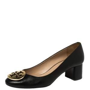 Tory Burch Black Leather Janey Block Heel Pumps Size 39