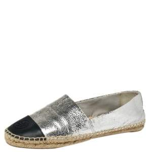 Tory Burch Silver Monogram Leather Cap Toe Espadrilles Size 39.5