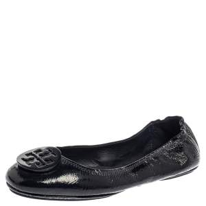 Tory Burch Black Patent Leather Reva Scrunch Ballet Flats Size 39.5