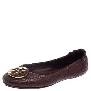 Tory Burch Burgundy Leather Reva Scrunch Ballet Flats Size 38.5