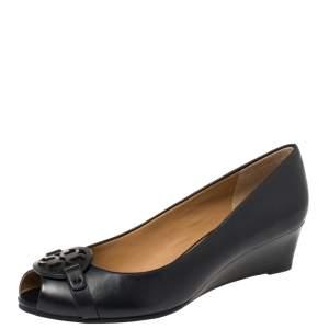 Tory Burch Black Leather Gabriel  Peep-Toe Wedge Pumps Size 38