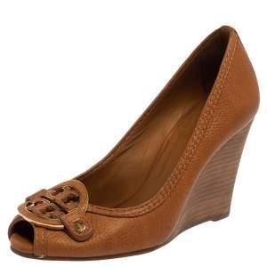 Tory Burch Brown Leather Julianne Peep Toe Wedge Pumps Size 37