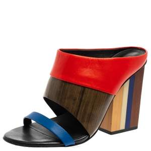Tory Burch Multicolor Leather Open Toe Slide Sandals Size 37